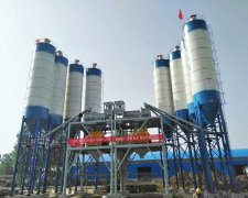 Double concrete mixing plant installation site